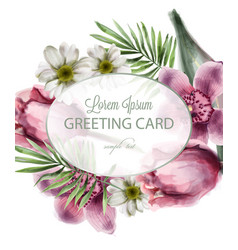 orchid and daisy flowers round card vector image
