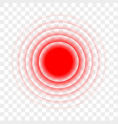 Pain red circle radial target point icon vector