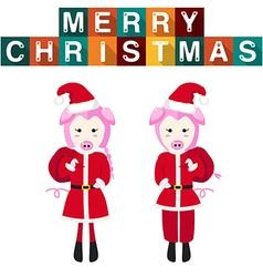 Pig Santa Claus vector