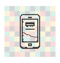 Pixel icon smartfone on a square background vector