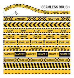 Police yellow tape seamless brush design vector