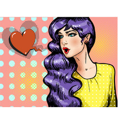Pop art beautiful girl with heart shaped vector