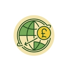Pound money transfer flat icon vector image