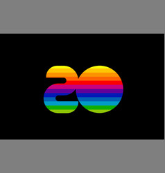 rainbow color colored colorful number 20 logo vector image