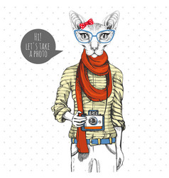 Retro hipster animal sphynx cat with photo camera vector
