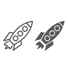 rocket line and glyph icon transportation vector image