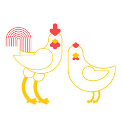 rooster and chicken farm bird isolated on white vector image