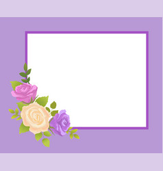 Rose beige and purple flowers photo frame greeting vector