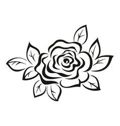 Rose flower black pictogram vector