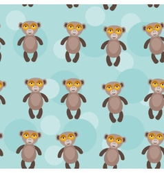 Seamless pattern with funny cute monkey animal on vector image