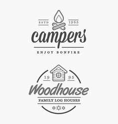 Set camp logo with campfire log wood house vector
