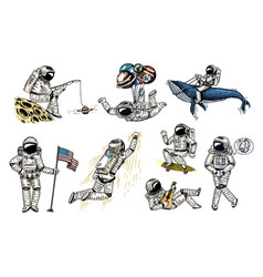Set of astronauts in space collection soaring vector
