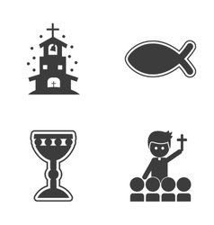 Set of flat icon in black and white style religion vector