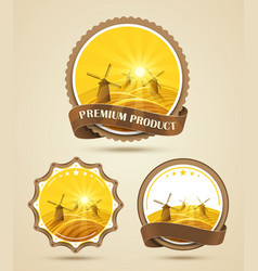 Set of windmills labels vector