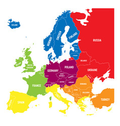 Six geographical regions of europe - southern vector