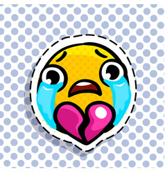 smiley face or yellow emoticons with broken heart vector image
