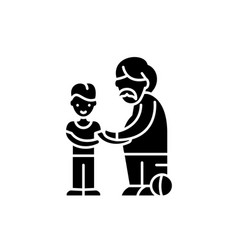 son and father black icon sign on isolated vector image