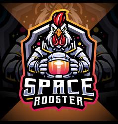 space rooster esport mascot logo design vector image