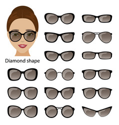 Spectacle frames and diamond face vector