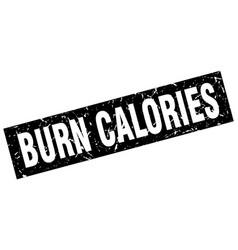 square grunge black burn calories stamp vector image