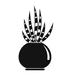striped cactus pot icon simple style vector image