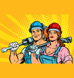 Strong workers man and woman labor day equality vector