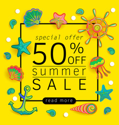 Summer sale banner with pieces of marine items vector