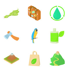 Tropical campsite icons set cartoon style vector