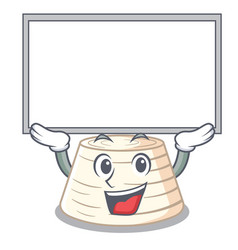Up board ricotta cheese icon in character cartoon vector