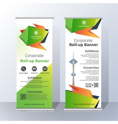 Vertical Roll Up Banner Template Design vector image