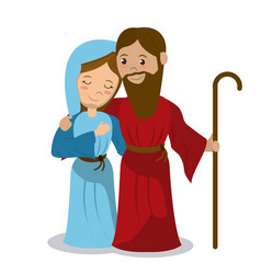 Virgin mary and joseph holding stick hugging vector