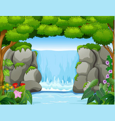 Waterfall landscape background in forest vector
