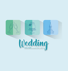 Wedding celebration card with set icons vector