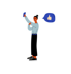 young woman making selfie and chatting online vector image