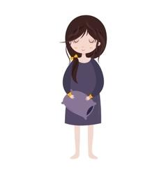 Sleepy girl in pajamas Cute cartoon character vector image