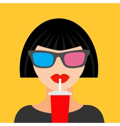 Brunet woman and soda Fat design vector image