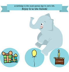 Congratulations birthday with a character elephant vector image vector image