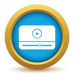 Gold media player icon vector image