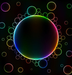 Many colorful bubbles unusual dark abstract vector image