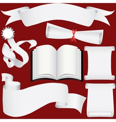 Paper banners scrolls and diploma set vector image vector image
