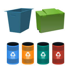 set of buckets for sorting garbage with signs vector image vector image