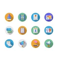 Social media marketing flat color icons vector image vector image