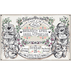 Vintage Wedding Hand Drawn Banners and Labels vector image vector image