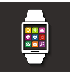 Wearables technology device with apps icons vector image vector image