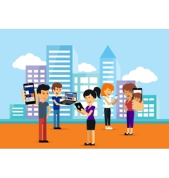Young people man and woman using technology gadget vector image vector image