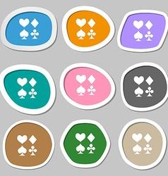 Card suit icon symbols multicolored paper stickers vector