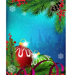 Christmas ornaments with ribbon on blue background vector image vector image