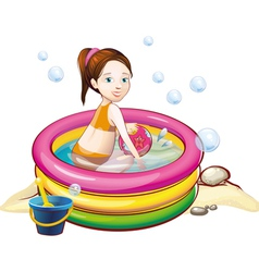 girl in the pool vector image