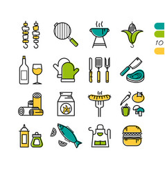 set linear bbq grill colored icons vector image
