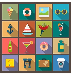 set of recreation icons in flat design style vector image